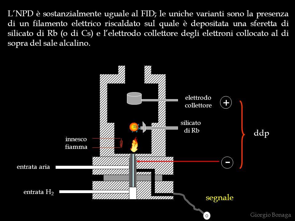 L'NPD è sostanzialmente uguale al FID; le uniche varianti sono la presenza di un filamento elettrico riscaldato sul quale è depositata una sferetta di silicato di Rb (o di Cs) e l'elettrodo collettore degli elettroni collocato al di sopra del sale alcalino.