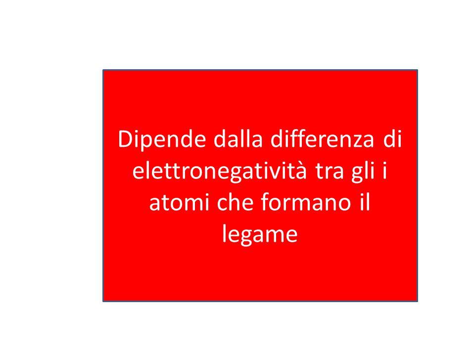 Dipende dalla differenza di elettronegatività tra gli i atomi che formano il legame