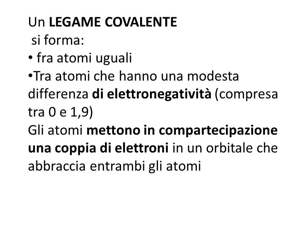 Un LEGAME COVALENTE si forma: fra atomi uguali. Tra atomi che hanno una modesta differenza di elettronegatività (compresa tra 0 e 1,9)