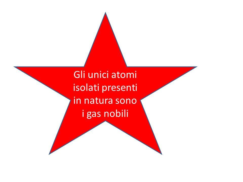 Gli unici atomi isolati presenti in natura sono i gas nobili
