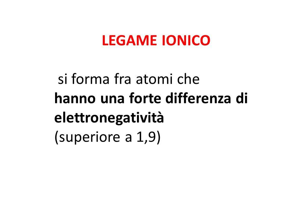 LEGAME IONICO si forma fra atomi che. hanno una forte differenza di elettronegatività.