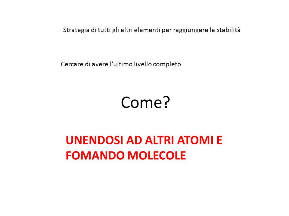 Come UNENDOSI AD ALTRI ATOMI E FOMANDO MOLECOLE