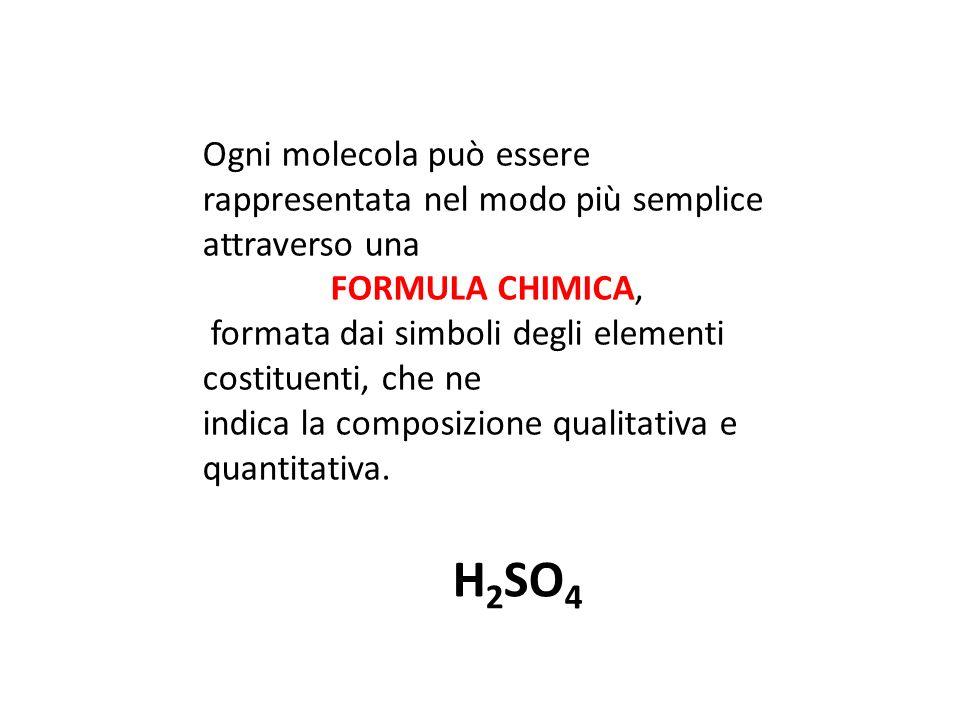 Ogni molecola può essere rappresentata nel modo più semplice attraverso una