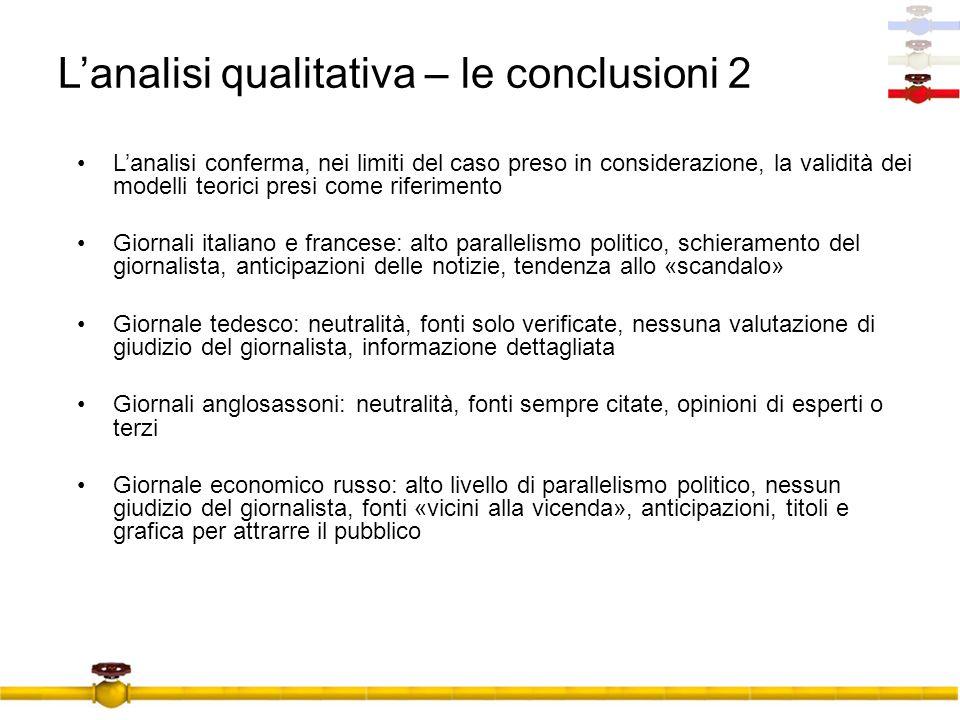 L'analisi qualitativa – le conclusioni 2