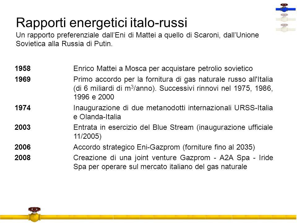 Rapporti energetici italo-russi Un rapporto preferenziale dall'Eni di Mattei a quello di Scaroni, dall'Unione Sovietica alla Russia di Putin.