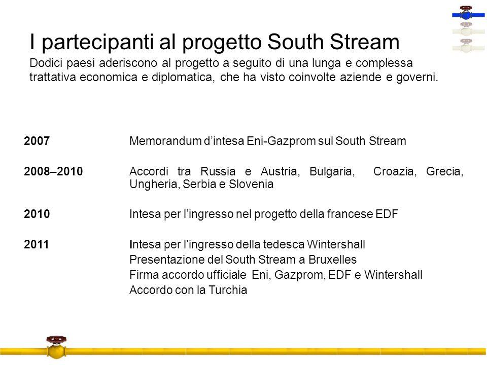 I partecipanti al progetto South Stream Dodici paesi aderiscono al progetto a seguito di una lunga e complessa trattativa economica e diplomatica, che ha visto coinvolte aziende e governi.