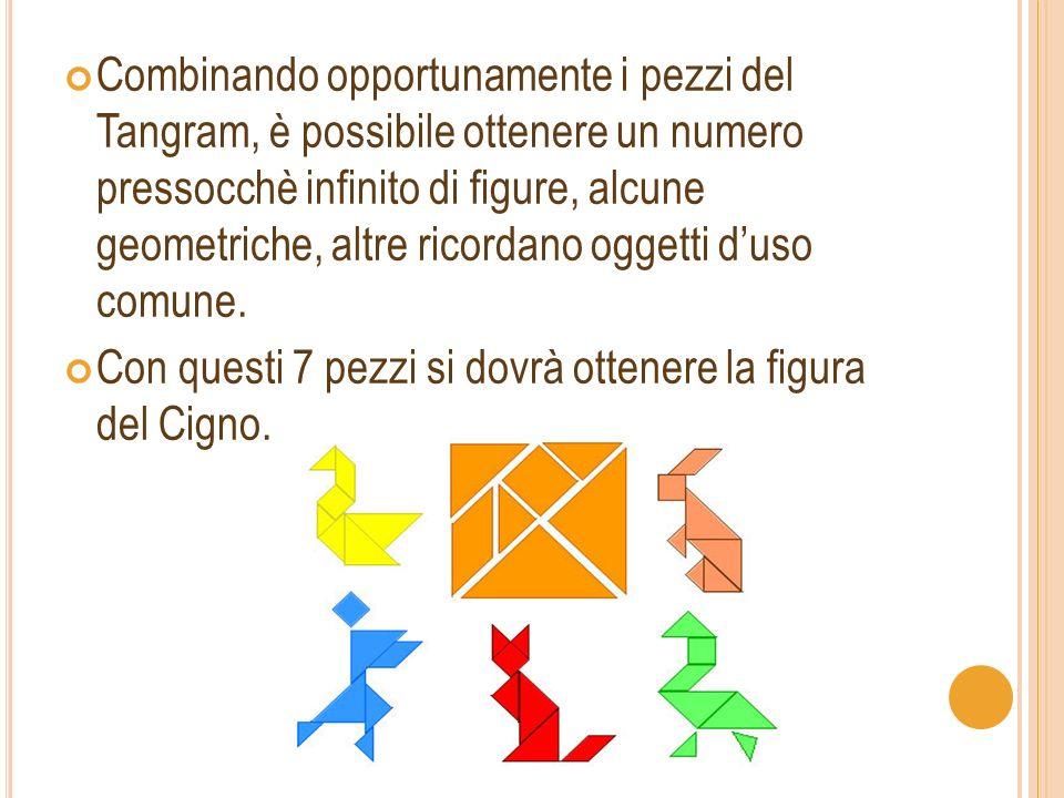 Combinando opportunamente i pezzi del Tangram, è possibile ottenere un numero pressocchè infinito di figure, alcune geometriche, altre ricordano oggetti d'uso comune.