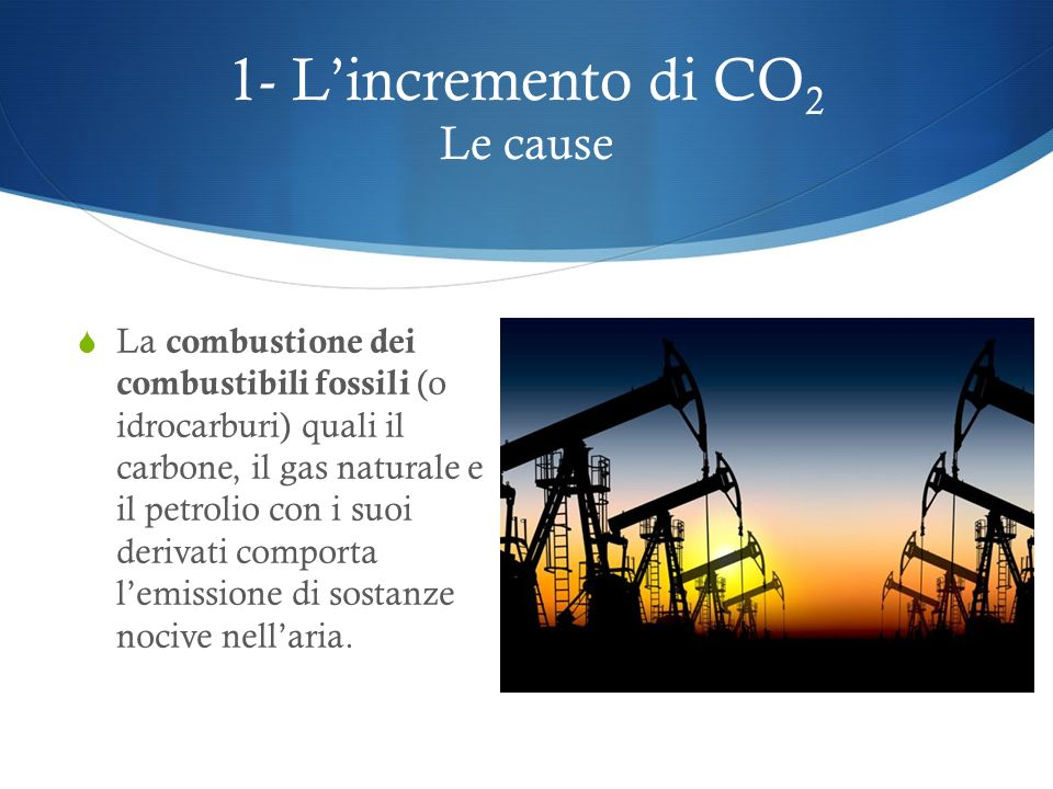 1- L'incremento di CO2 Le cause