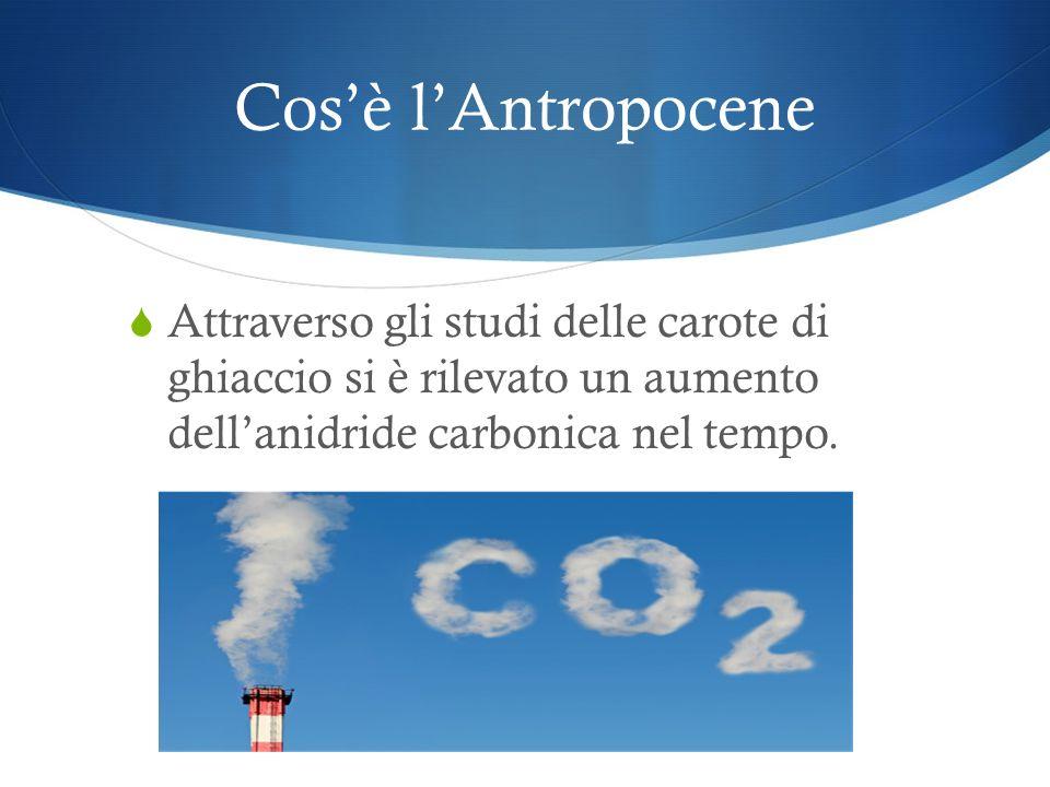 Cos'è l'Antropocene Attraverso gli studi delle carote di ghiaccio si è rilevato un aumento dell'anidride carbonica nel tempo.