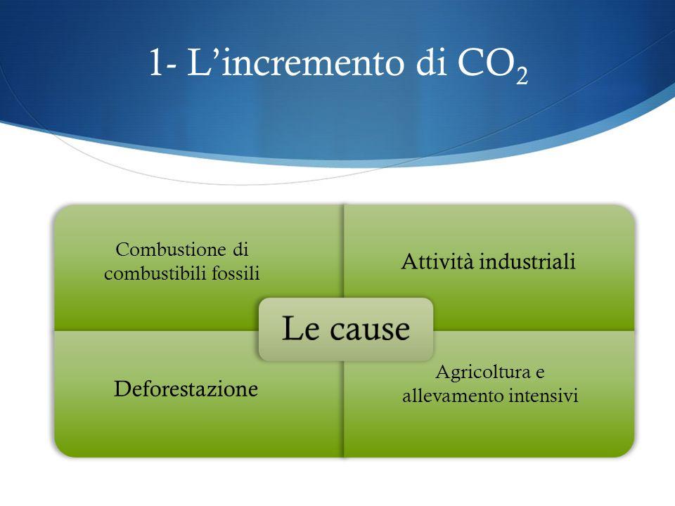 1- L'incremento di CO2 Le cause Attività industriali Deforestazione