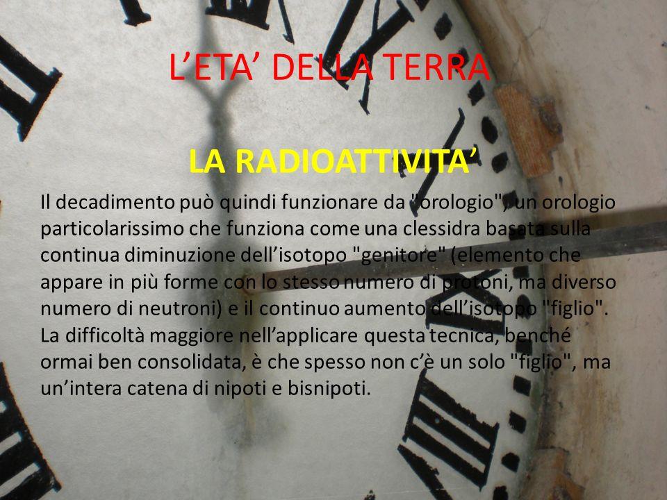L'ETA' DELLA TERRA LA RADIOATTIVITA'