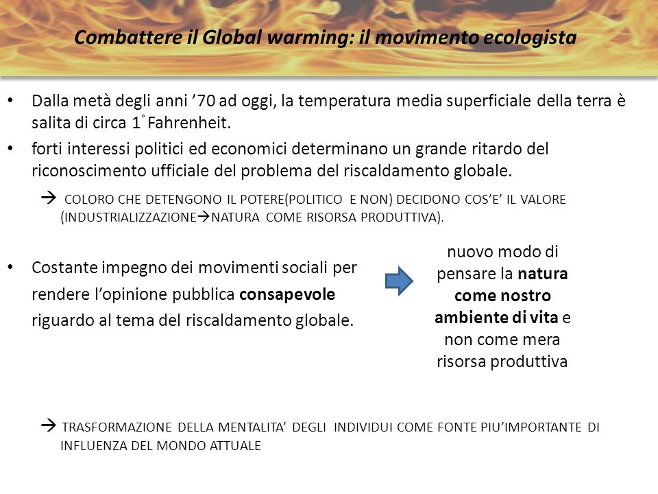 Combattere il Global warming: il movimento ecologista
