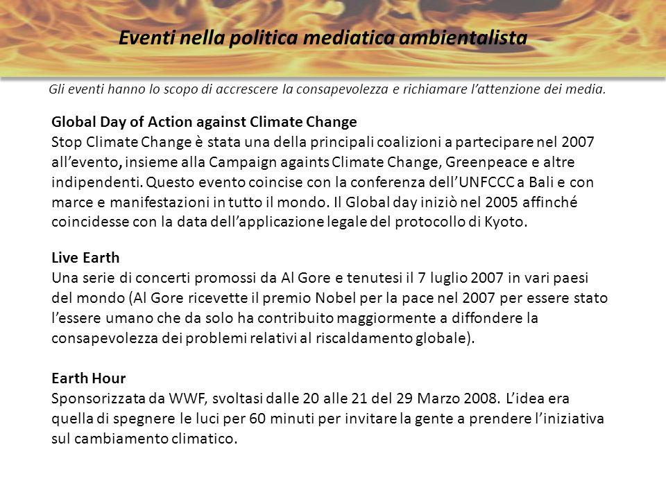 Eventi nella politica mediatica ambientalista