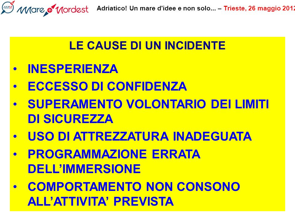 LE CAUSE DI UN INCIDENTE