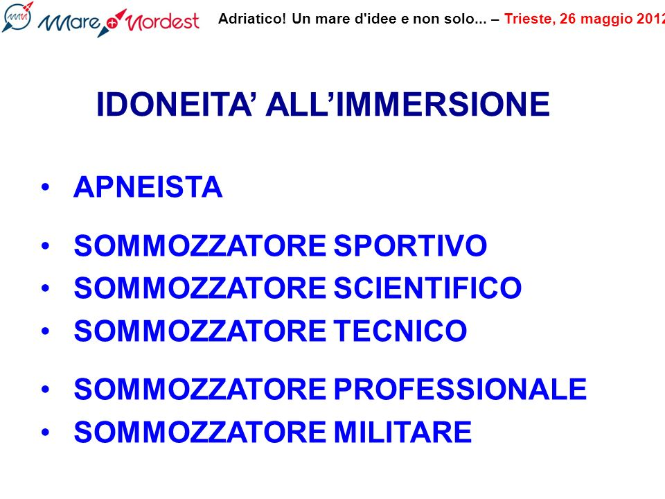 IDONEITA' ALL'IMMERSIONE
