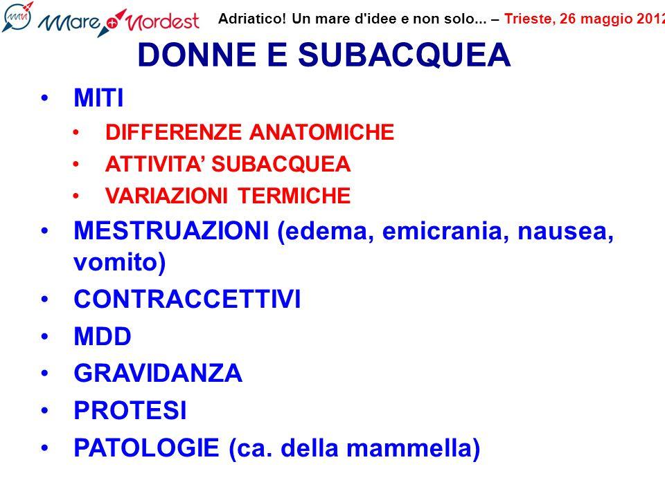 DONNE E SUBACQUEA MITI MESTRUAZIONI (edema, emicrania, nausea, vomito)