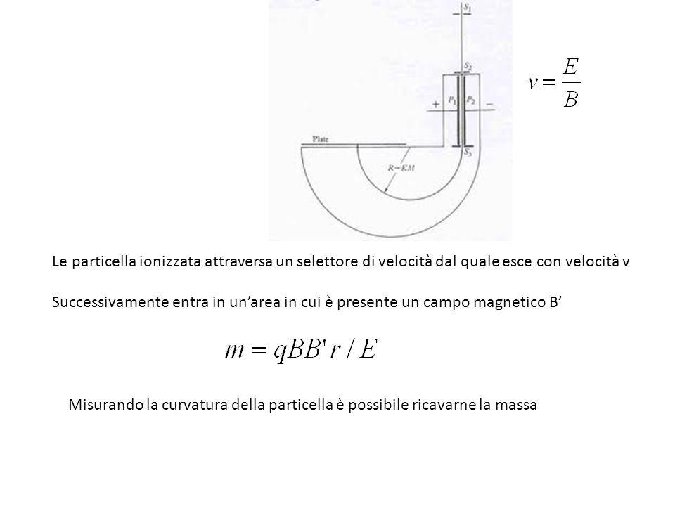 Le particella ionizzata attraversa un selettore di velocità dal quale esce con velocità v
