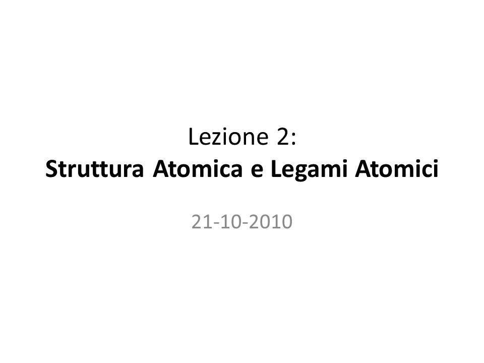 Lezione 2: Struttura Atomica e Legami Atomici