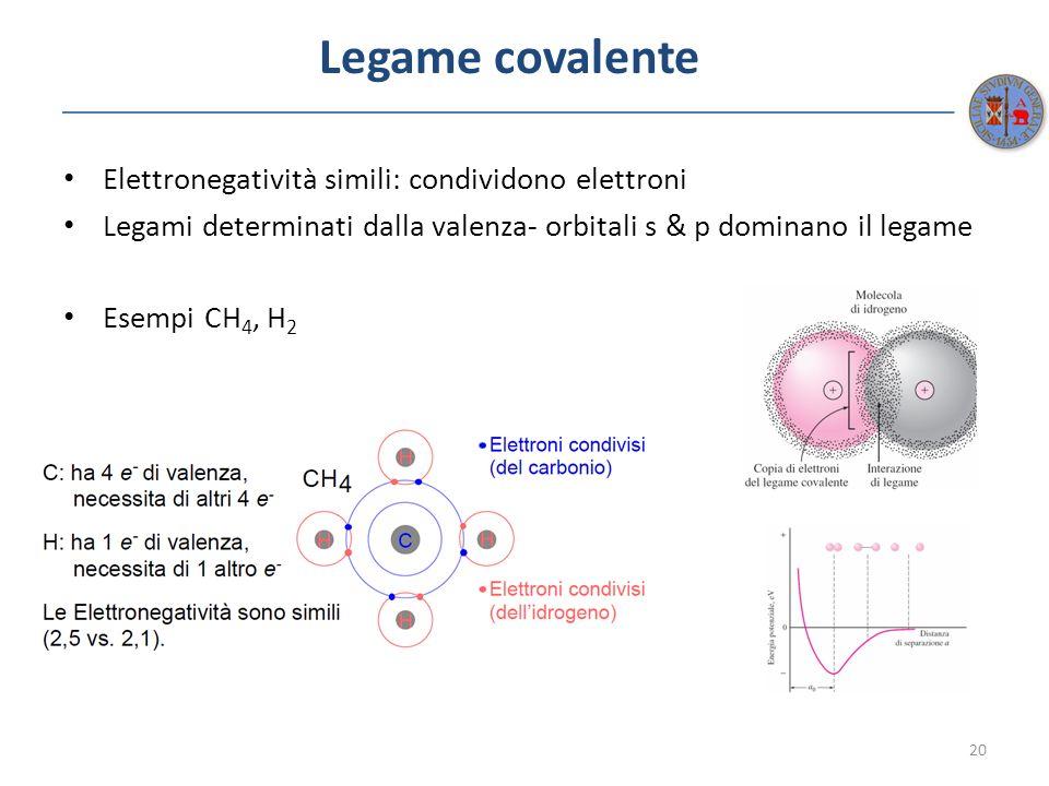 Legame covalente Elettronegatività simili: condividono elettroni