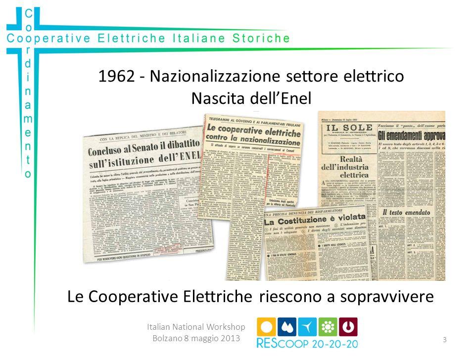 1962 - Nazionalizzazione settore elettrico Nascita dell'Enel