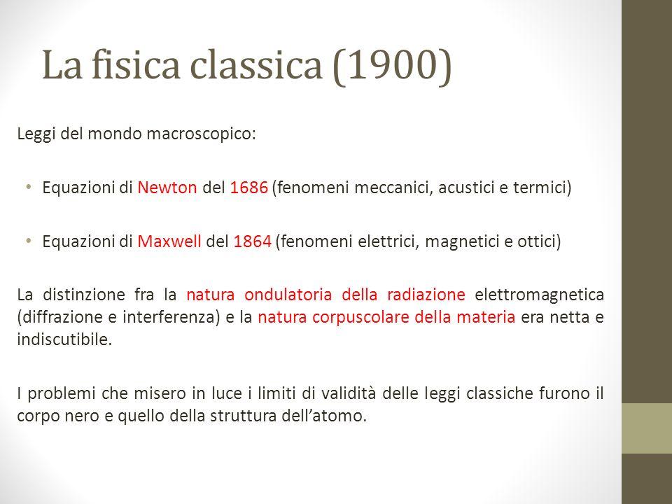 La fisica classica (1900) Leggi del mondo macroscopico: