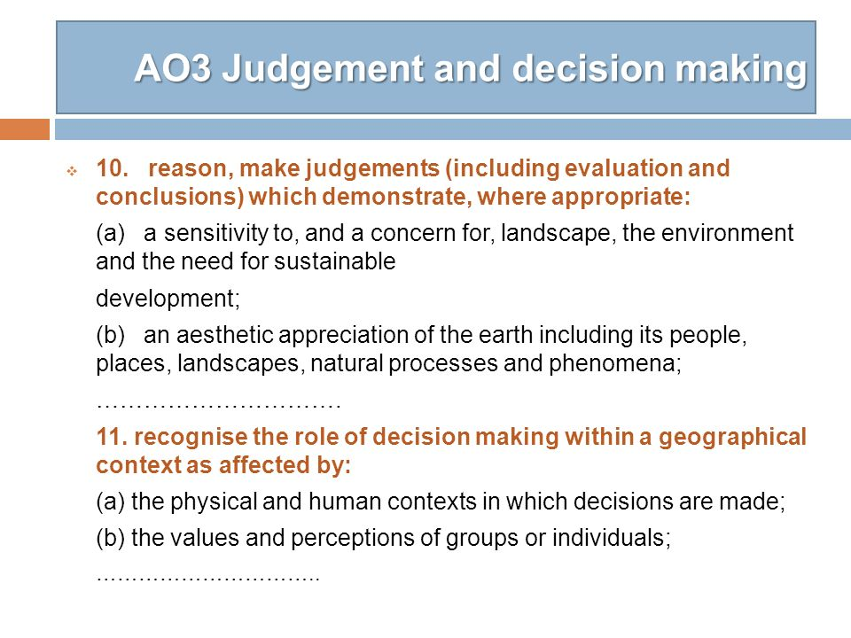 AO3 Judgement and decision making