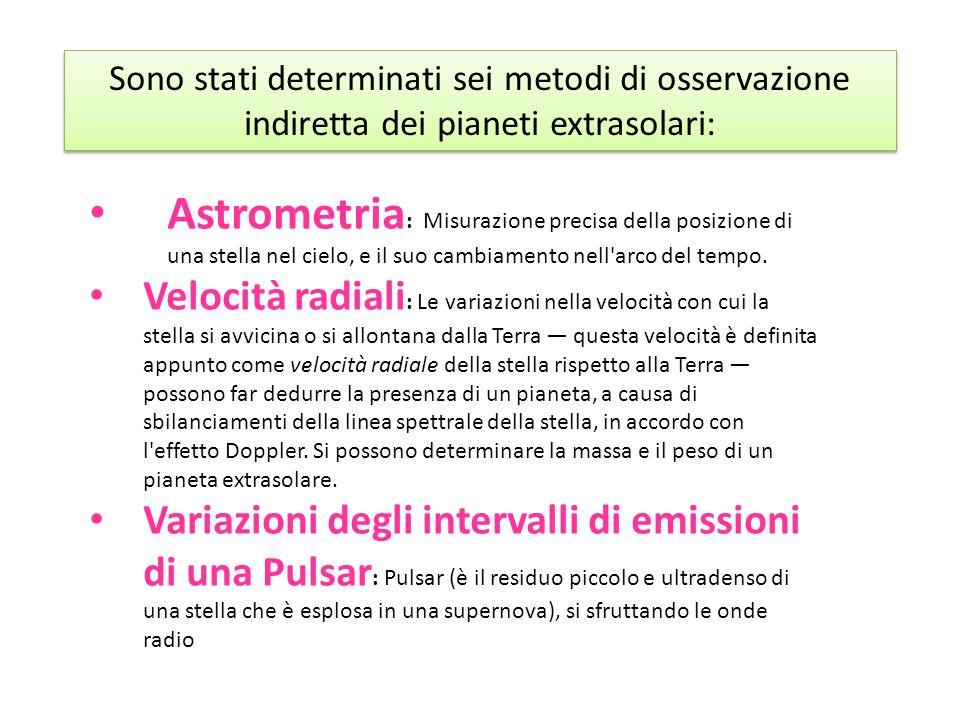 Sono stati determinati sei metodi di osservazione indiretta dei pianeti extrasolari: