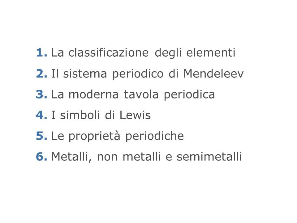 1. La classificazione degli elementi