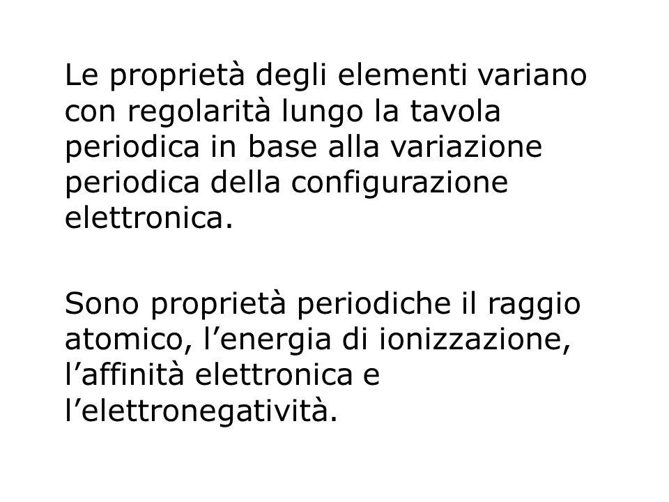 Le proprietà degli elementi variano con regolarità lungo la tavola periodica in base alla variazione periodica della configurazione elettronica.