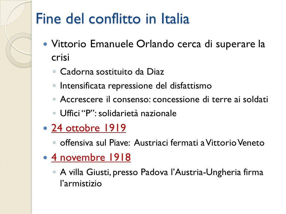Fine del conflitto in Italia