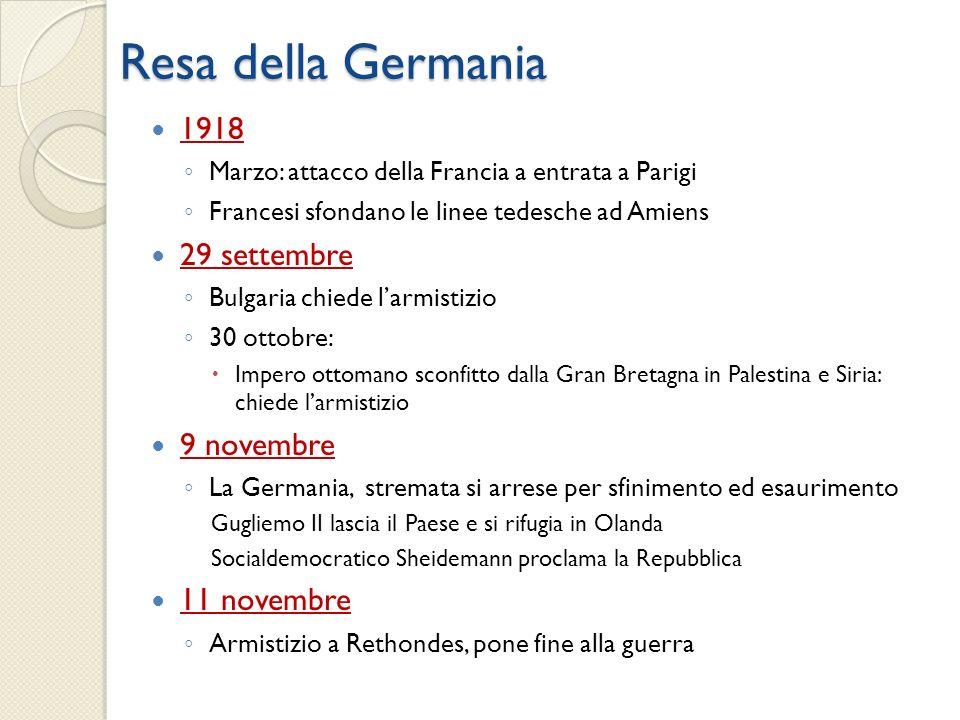 Resa della Germania 1918 29 settembre 9 novembre 11 novembre