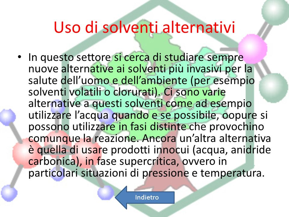 Uso di solventi alternativi