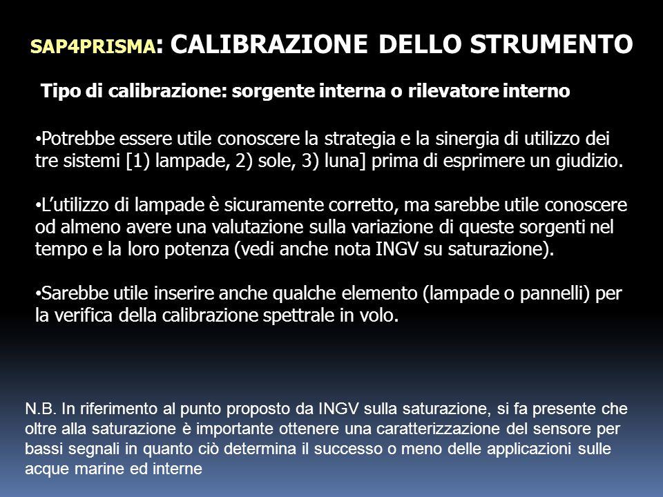 SAP4PRISMA: CALIBRAZIONE DELLO STRUMENTO