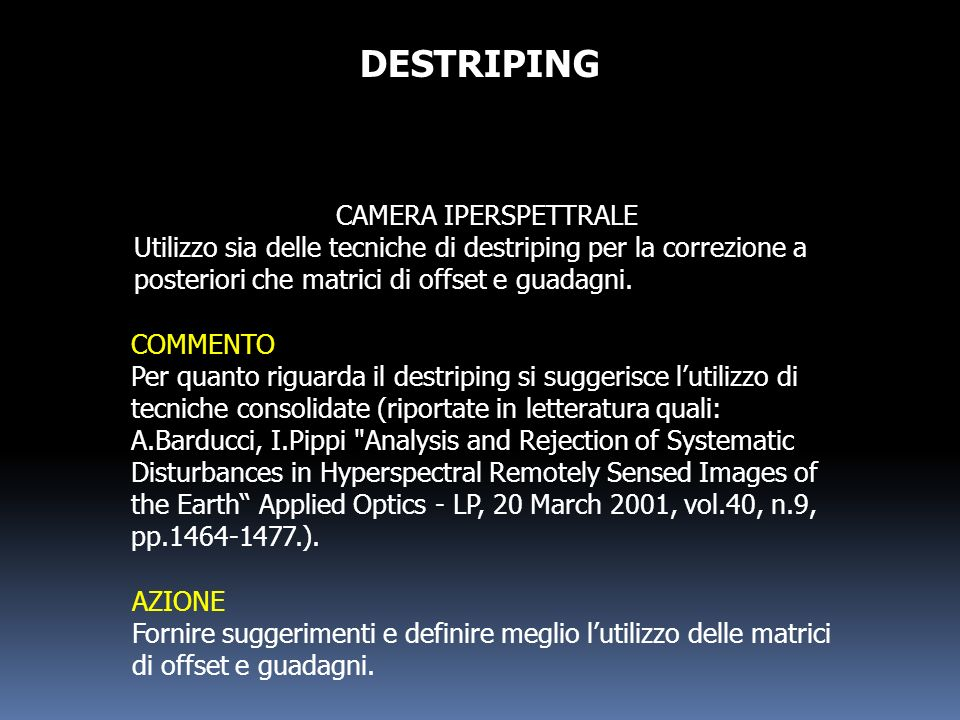 DESTRIPING CAMERA IPERSPETTRALE