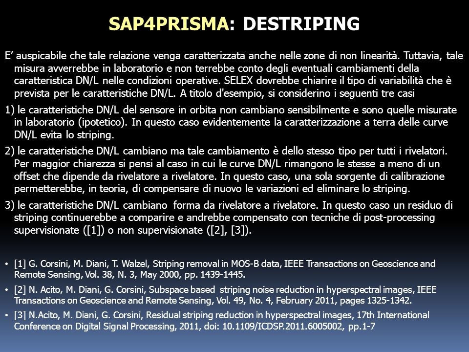 SAP4PRISMA: DESTRIPING