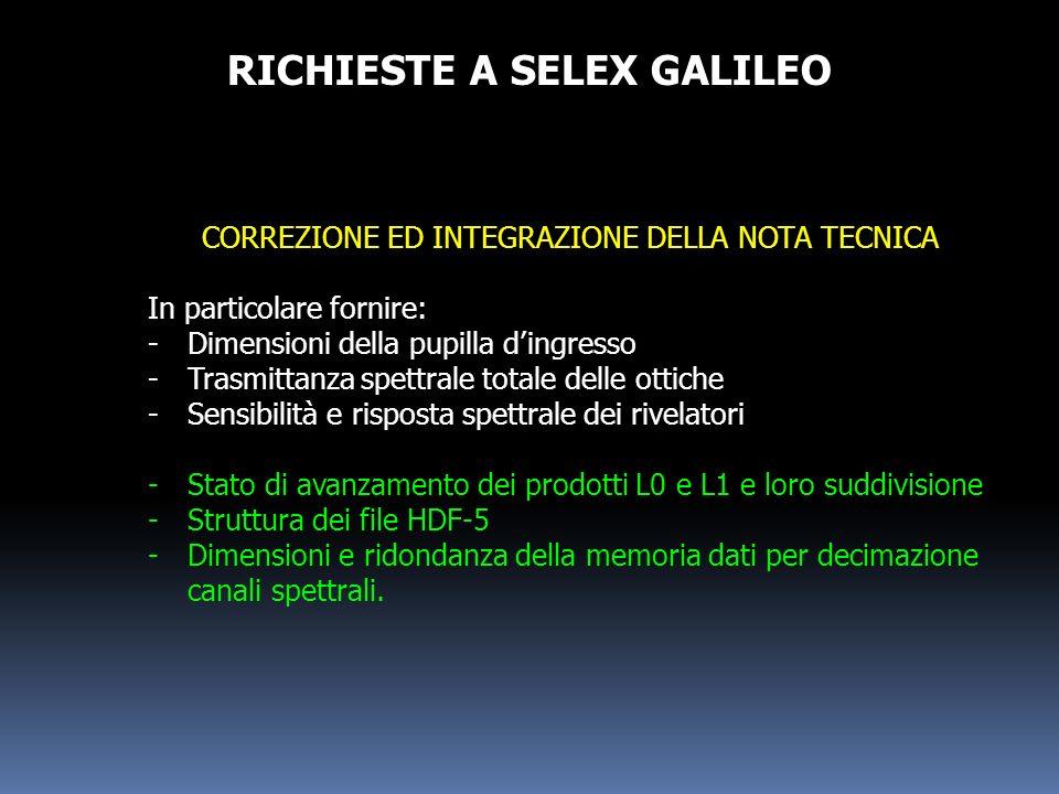 RICHIESTE A SELEX GALILEO
