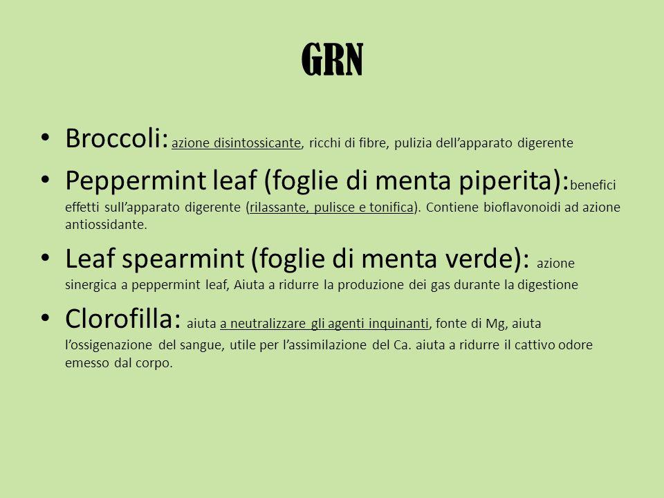 GRN Broccoli: azione disintossicante, ricchi di fibre, pulizia dell'apparato digerente.
