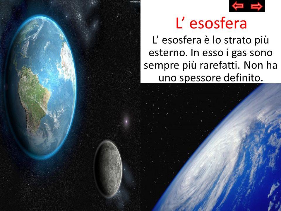 L' esosferaL' esosfera è lo strato più esterno.In esso i gas sono sempre più rarefatti.