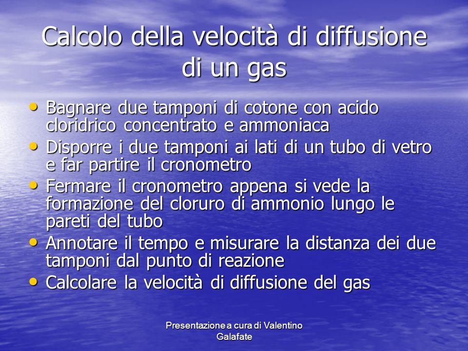 Calcolo della velocità di diffusione di un gas