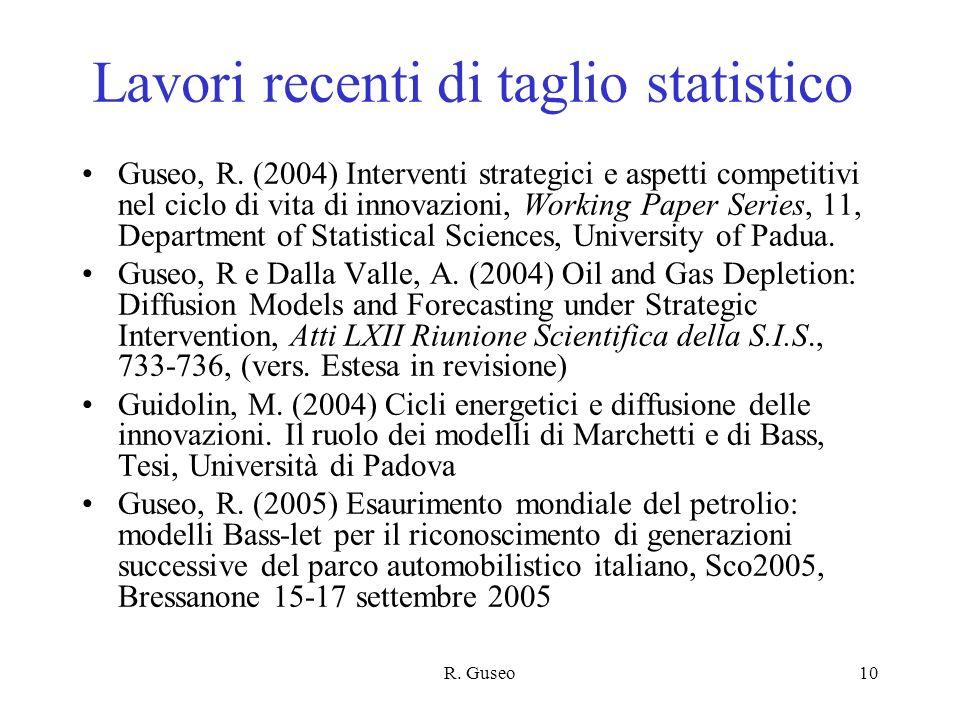 Lavori recenti di taglio statistico