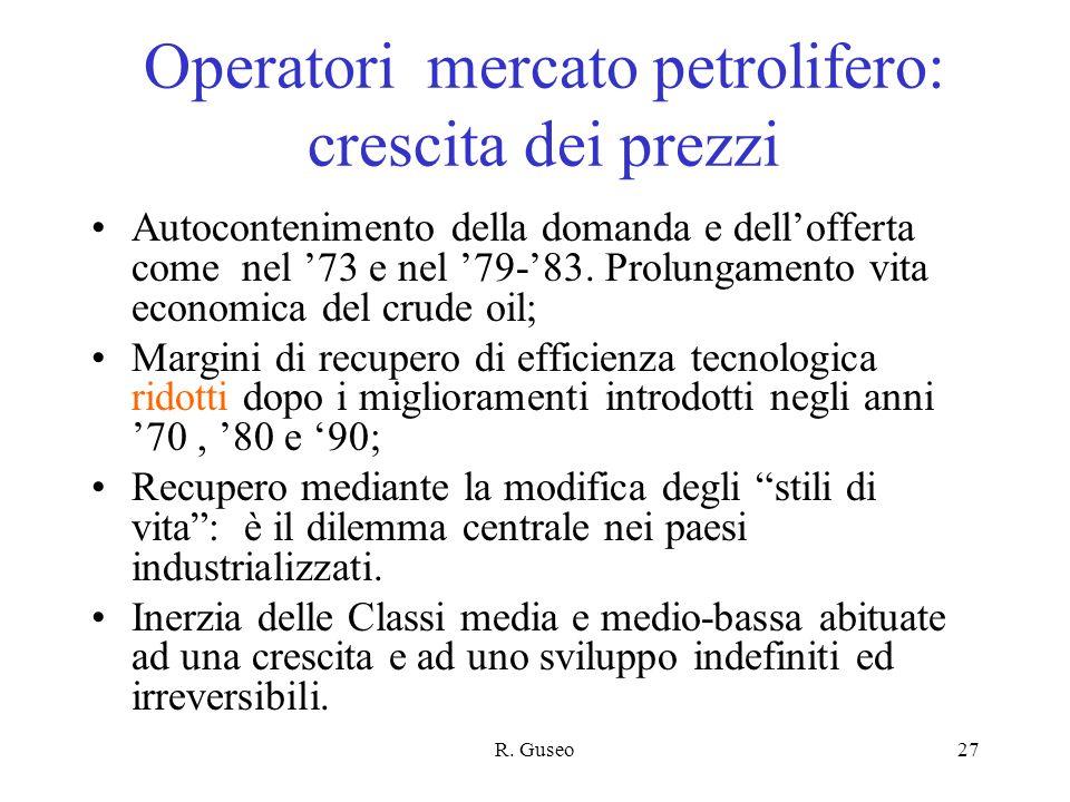 Operatori mercato petrolifero: crescita dei prezzi