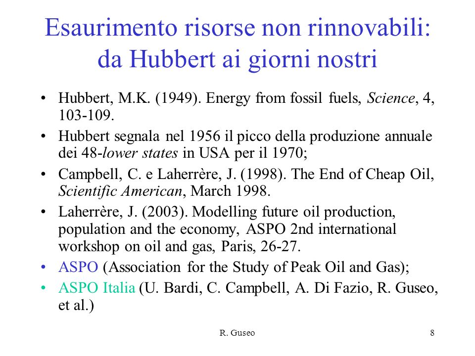 Esaurimento risorse non rinnovabili: da Hubbert ai giorni nostri