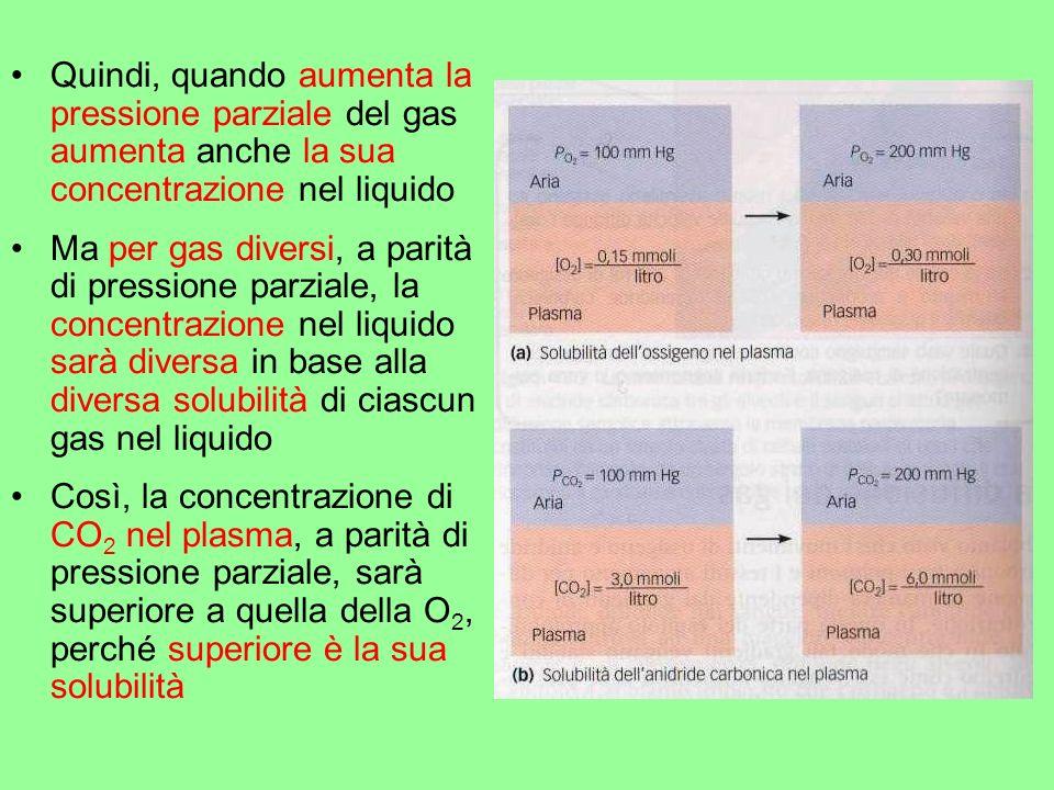 Quindi, quando aumenta la pressione parziale del gas aumenta anche la sua concentrazione nel liquido