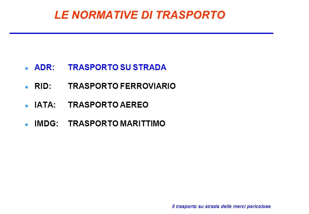LE NORMATIVE DI TRASPORTO