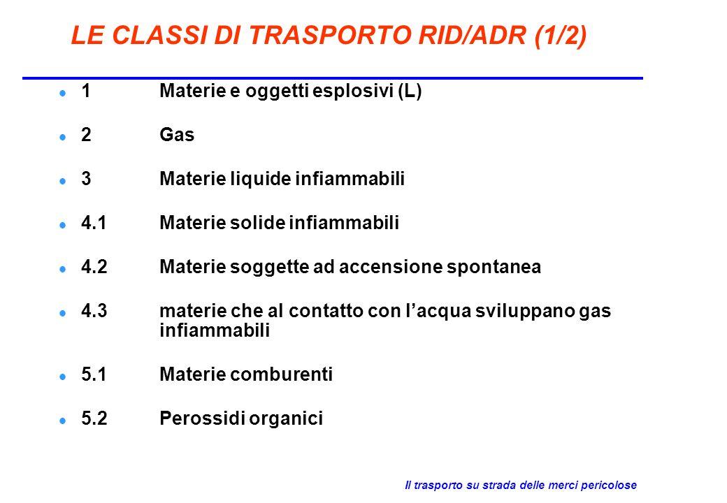 LE CLASSI DI TRASPORTO RID/ADR (1/2)