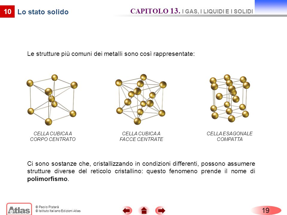 CAPITOLO 13. I GAS, I LIQUIDI E I SOLIDI Lo stato solido