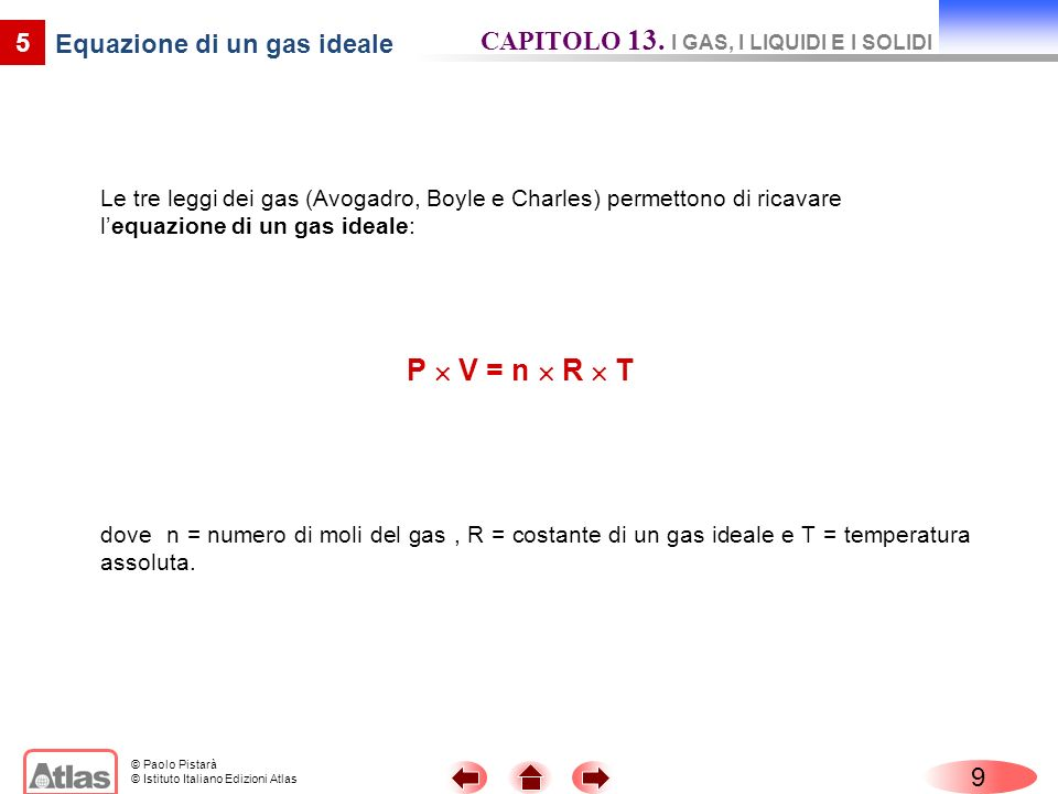 Equazione di un gas ideale