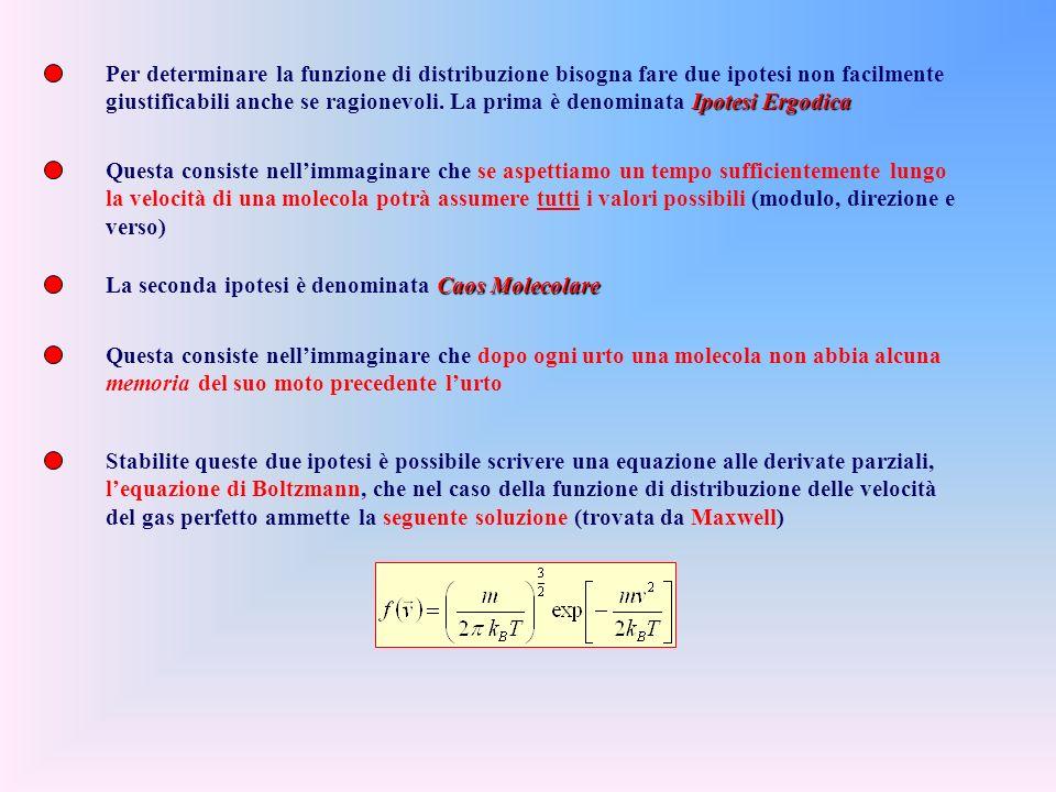 Per determinare la funzione di distribuzione bisogna fare due ipotesi non facilmente