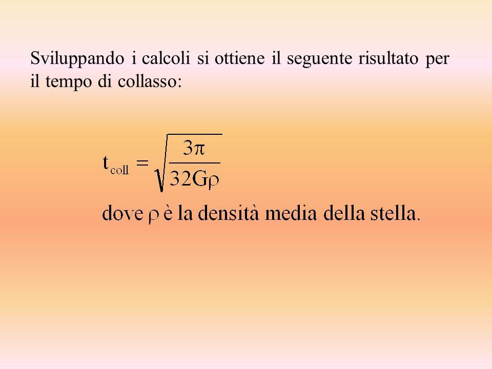 Sviluppando i calcoli si ottiene il seguente risultato per il tempo di collasso: