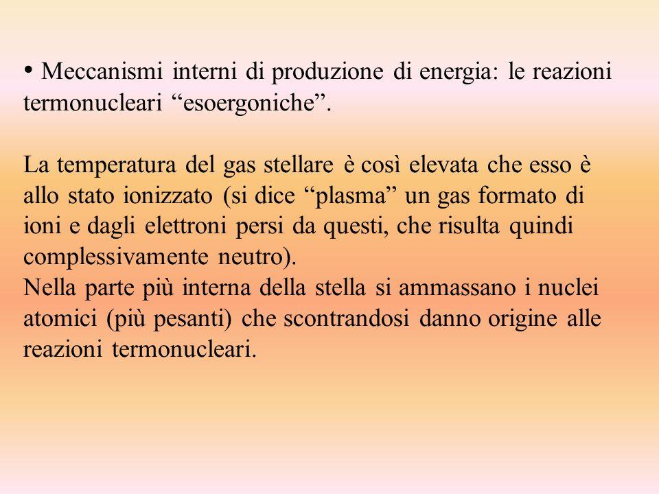 Meccanismi interni di produzione di energia: le reazioni termonucleari esoergoniche .